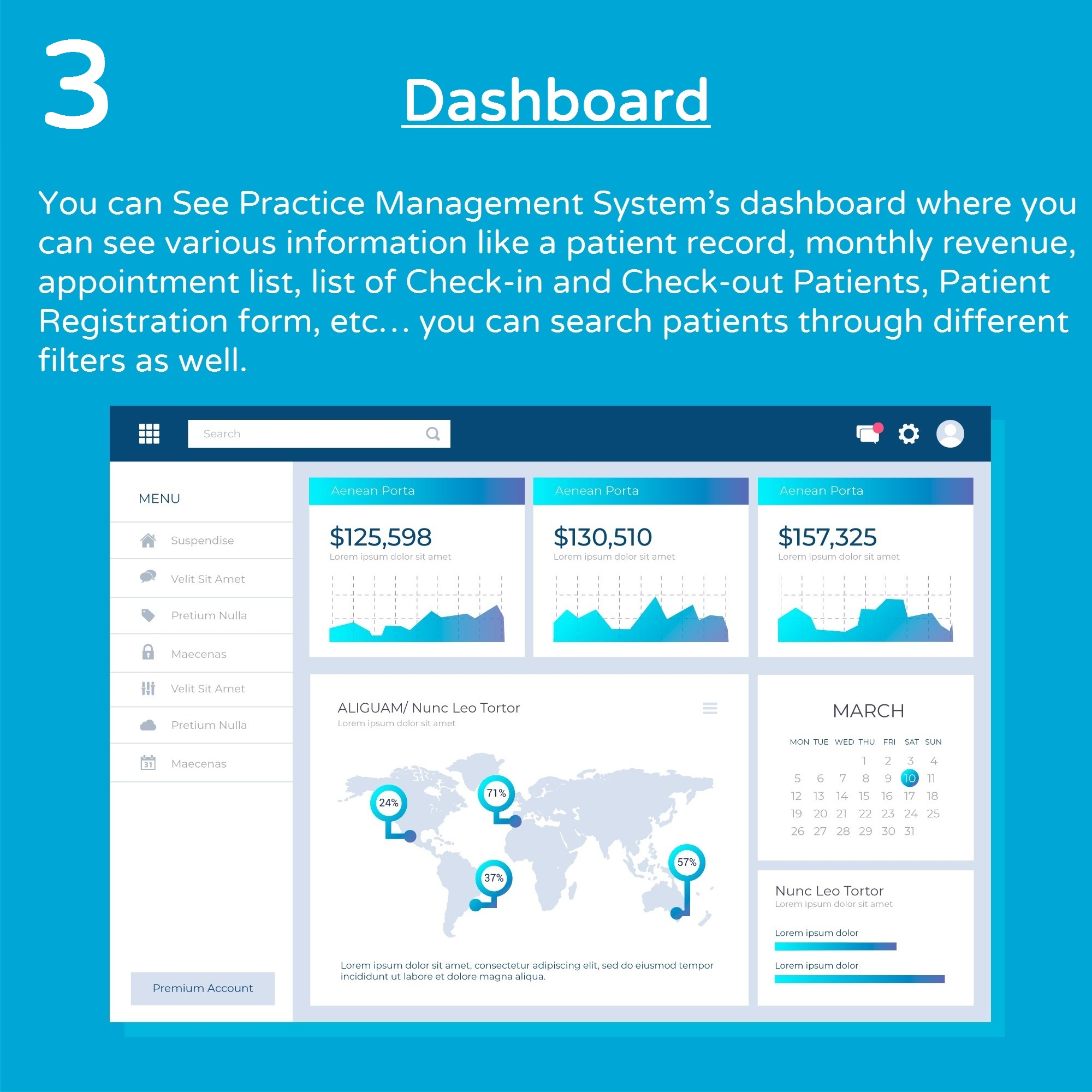 Dashboard Screen of Practice Management System